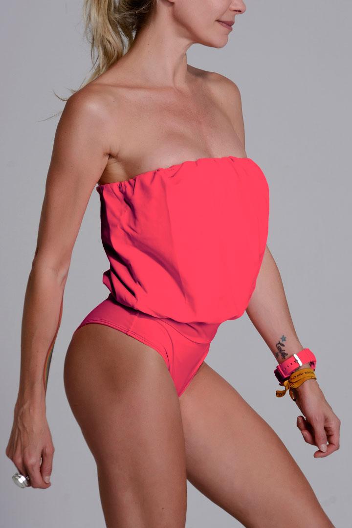 Malla enteriza Eva color Coral